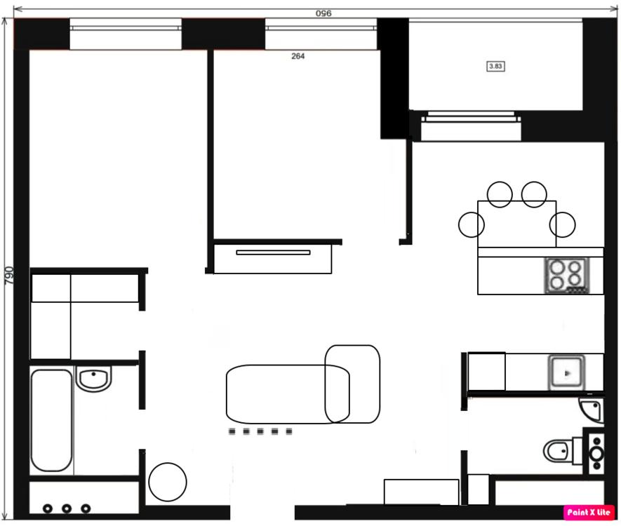 Перепланировка 2х комнатной квартиры 58 кв.м.