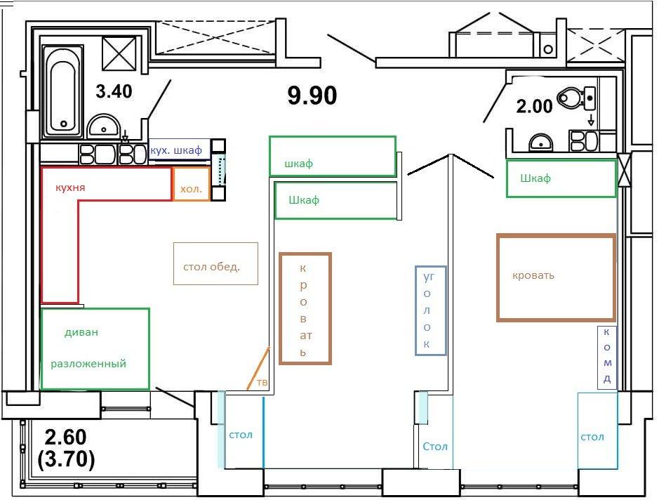 Увеличить кухню-гостиную в 2шке