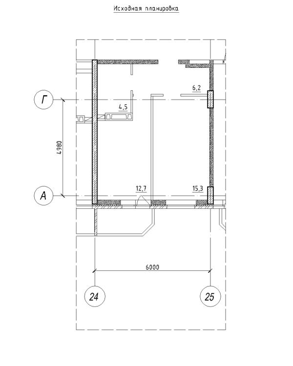 Планировка однушки (40 кв.м. в евродвушку)-2