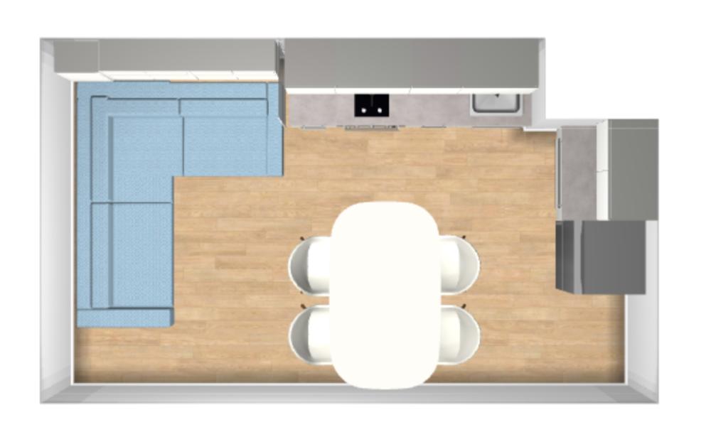 Организация пространства на вытянутой кухне