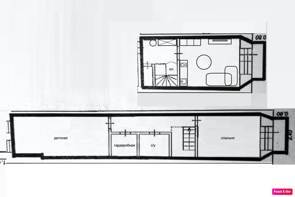 Планировочное решение 2х уровневой, 2х комнатной квартиры.