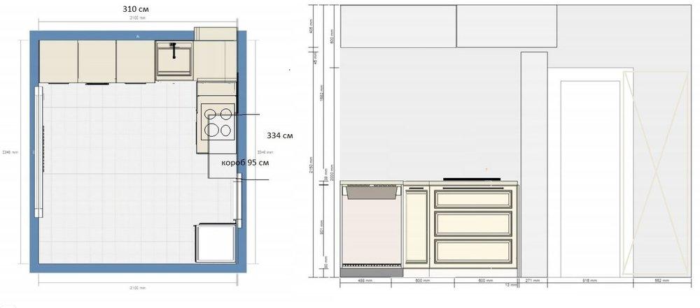 кухня п44 9,1 кв.м., 1ый этаж