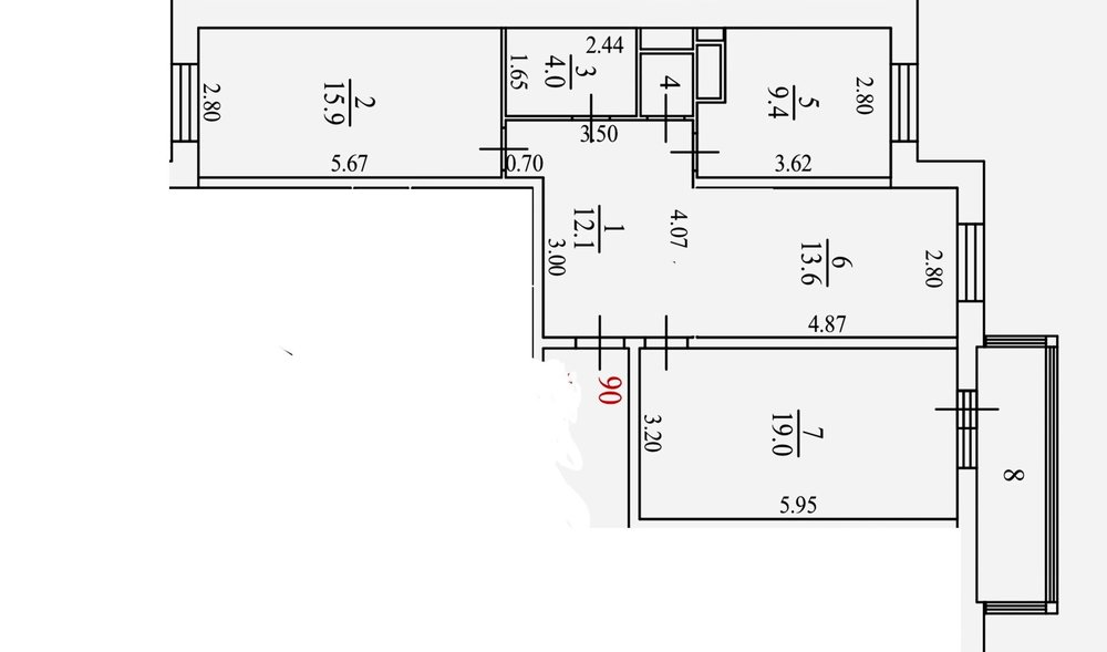 Перепланировка 3шки 77кв.м: Кухня-гостиная, гардеробная