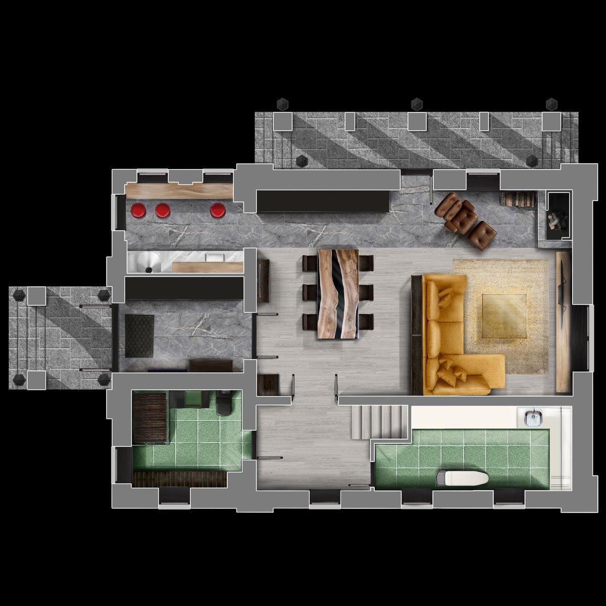 Реконструкция и дизайн интерьера первого этажа дома