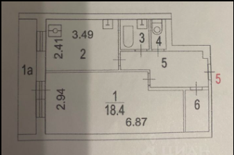 Однушка 37,5 м кв