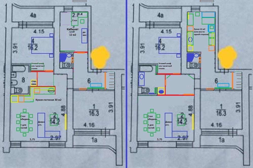 Варианты перепланировки 3-х комнатной 97 кв. м.