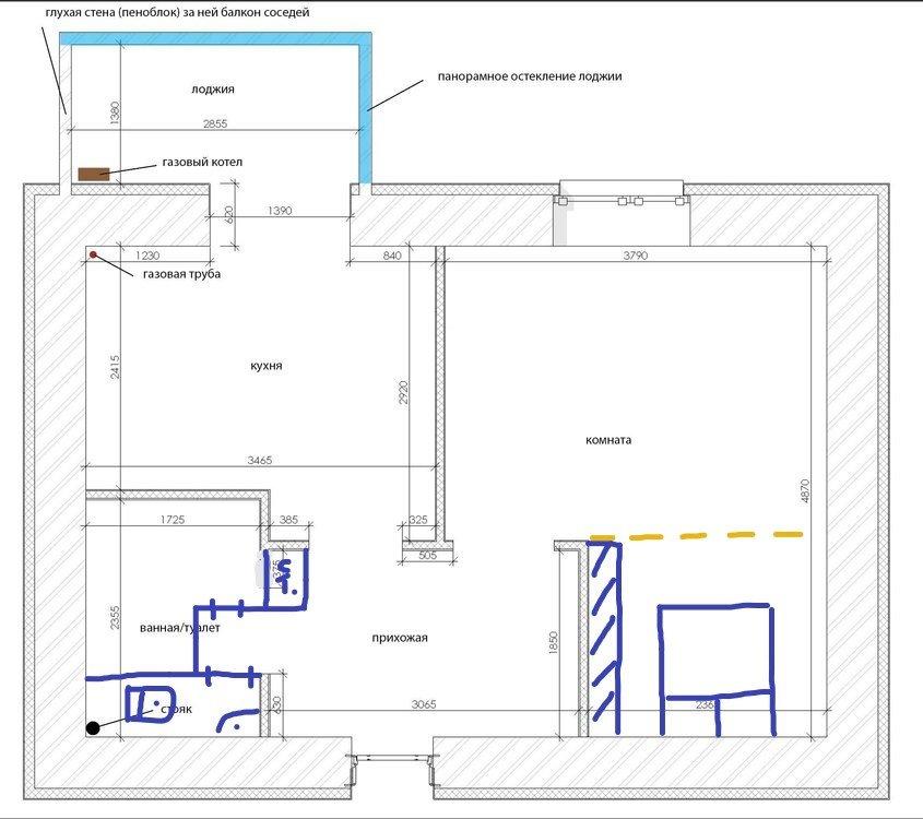 Планировка и дизайн однокомнатной квартиры-2
