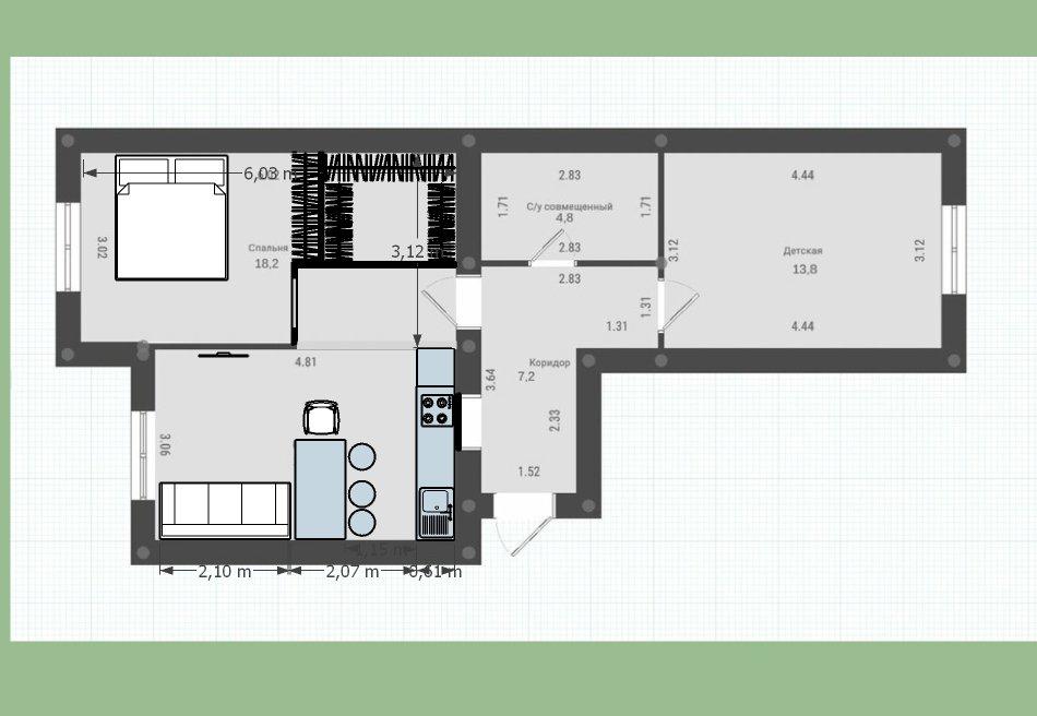 Двушка-распашонка 60 кв.м. с несущей стеной посередине. Нужна гардеробная и просторная кухня-гостиная