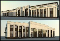 3D Визуализация фасада офисного центра Перово поле